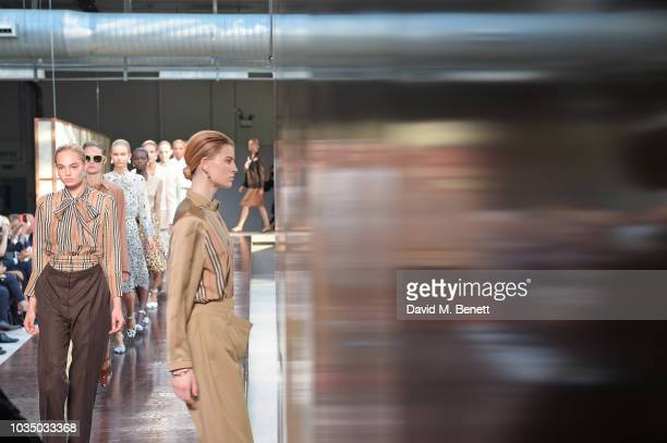 Models walk the runway at the Burberry SS19 catwalk show during London Fashion Week September 2018 on September 17 2018 in London England