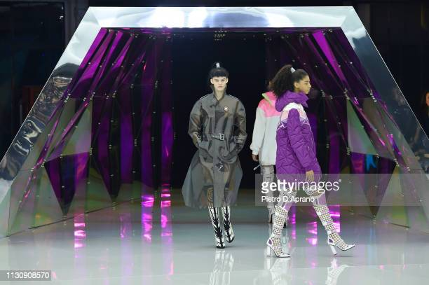 Models walk the runway at the Byblos show at Milan Fashion Week Autumn/Winter 2019/20 on February 20 2019 in Milan Italy