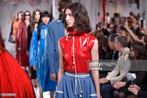 Models walk the runway at the Calvin Klein Spring Summer 2018 fashion show during New York Fashion Week on September 7 2017 in New York United States