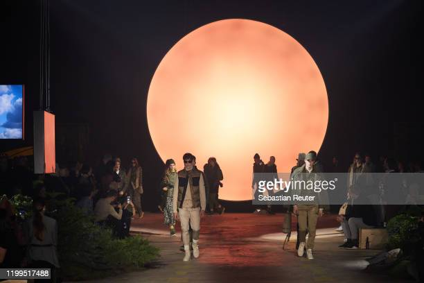 Models walk the runway at the camel active show during Berlin Fashion Week Autumn/Winter 2020 at Wriezener Karree on January 14 2020 in Berlin Germany