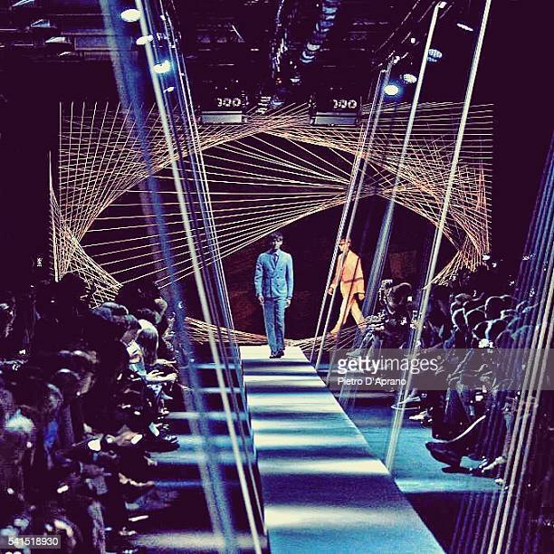 Models walk the runway at the Canali show during Milan Men's Fashion Week Spring/Summer 2017 on June 18 2016 in Milan Italy