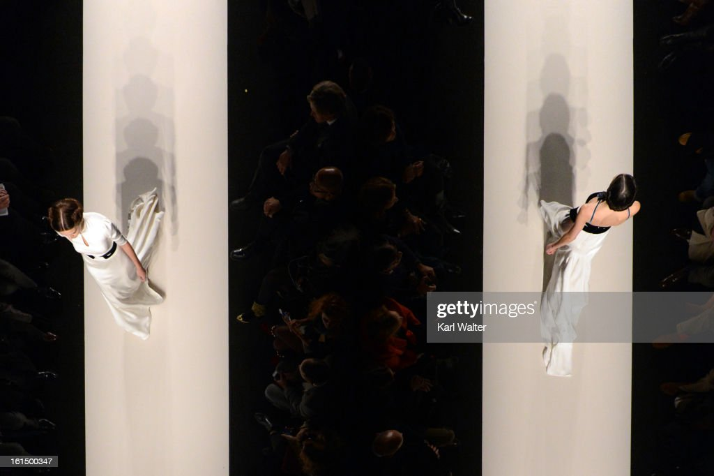 Models walk the runway at the Carolina Herrera fashion show during Fall 2013 Mercedes-Benz Fashion Week at Lincoln Center for the Performing Arts on February 11, 2013 in New York City.