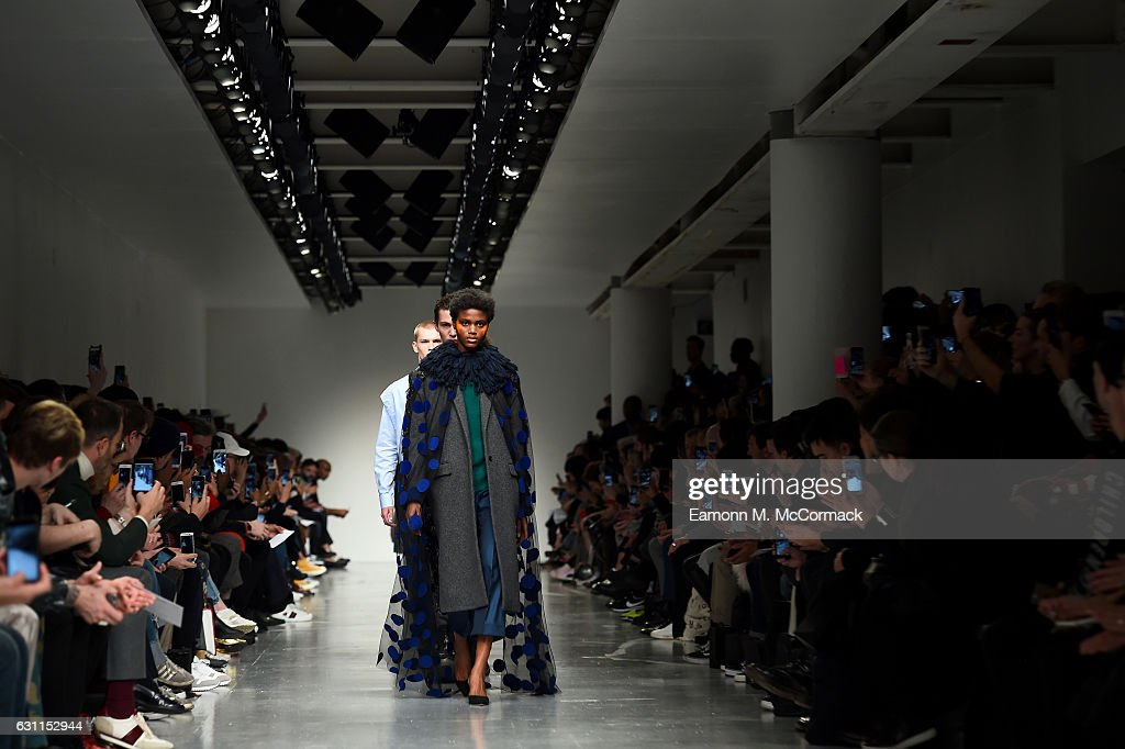 Models walk the runway at the Casely-Hayford show during London Fashion Week Men's January 2017 collections at BFC Show Space on January 7, 2017 in London, England.
