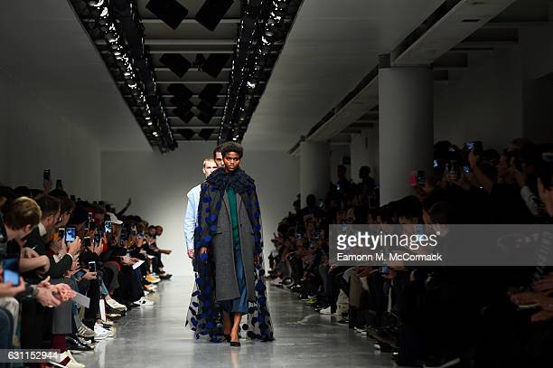 Models walk the runway at the CaselyHayford show during London Fashion Week Men's January 2017 collections at BFC Show Space on January 7 2017 in...