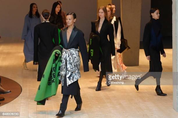 Models walk the runway at the Celine Autumn Winter 2017 fashion show during Paris Fashion Week on March 5 2017 in Paris France