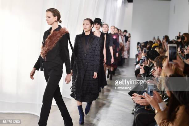 Models walk the runway at the CG by Chris Gelinas Autumn Winter 2017 fashion show during New York Fashion Week on February 11 2017 in New York United...