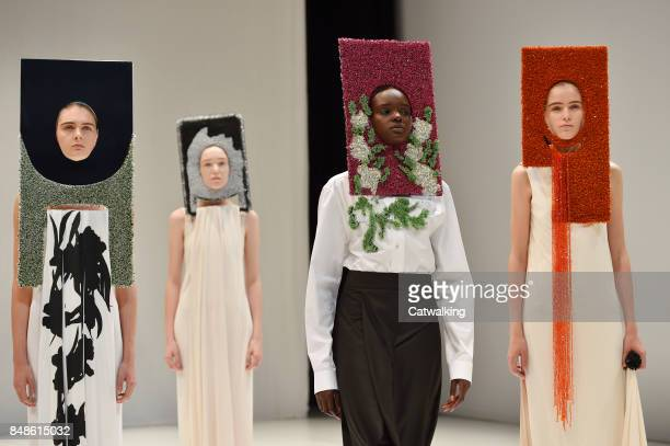 Models walk the runway at the Chalayan Spring Summer 2018 fashion show during London Fashion Week on September 17, 2017 in London, United Kingdom.