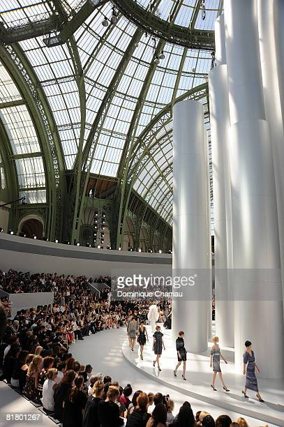 Models walk the runway at the Chanel '09 Spring Summer Haute Couture fashion show at the Grand Palais on July 1, 2008 in Paris, France.