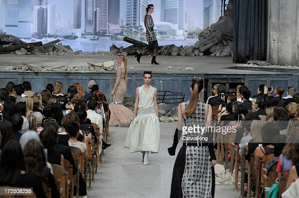 Models walk the runway at the Chanel Autumn Winter 2013 fashion show during Paris Haute Couture Fashion Week on July 2 2013 in Paris France