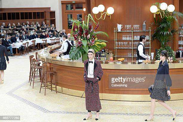 Models walk the runway at the Chanel Autumn Winter 2015 fashion show during Paris Fashion Week on March 10 2015 in Paris France