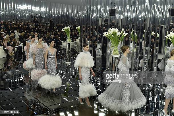 Models walk the runway at the Chanel Spring Summer 2017 fashion show during Paris Haute Couture Fashion Week on January 24 2017 in Paris France