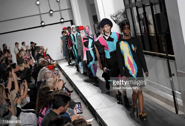 Models walk the runway at the Charles Jeffrey Loverboy show during London Fashion Week Men's June 2019 at The British Library on June 08 2019 in...