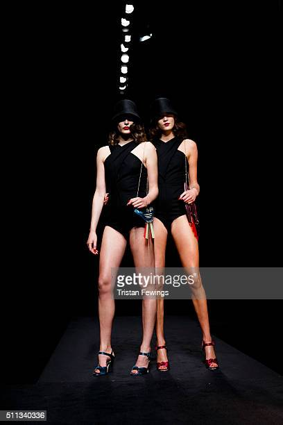 Models walk the runway at the Charlotte Olympia show during London Fashion Week Autumn/Winter 2016/17 at The Roundhouse on February 19 2016 in London...