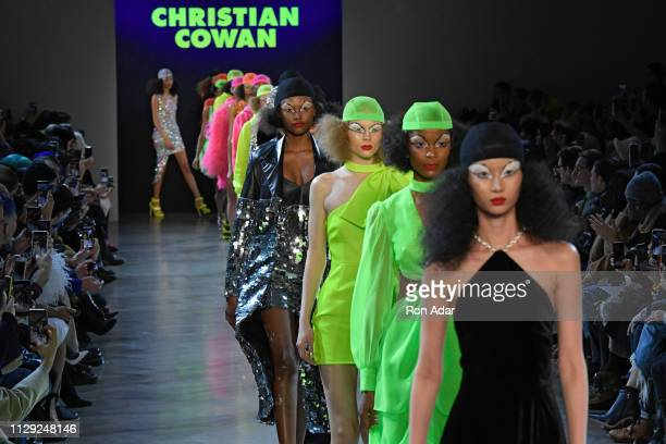 Models walk the runway at the Christian Cowan show during New York Fashion Week Fall Winter 2019 at Gallery II at Spring Studios on February 12 2019...