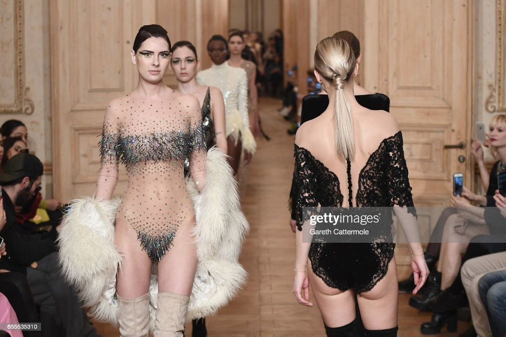 Models walk the runway at the Cihan Nacar show during Mercedes-Benz Istanbul Fashion Week March 2017 at Grand Pera on March 20, 2017 in Istanbul, Turkey.
