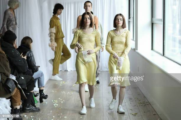 Models walk the runway at the Collina Strada AW18 Collection during New York Fashion Week on February 8 2018 in New York City