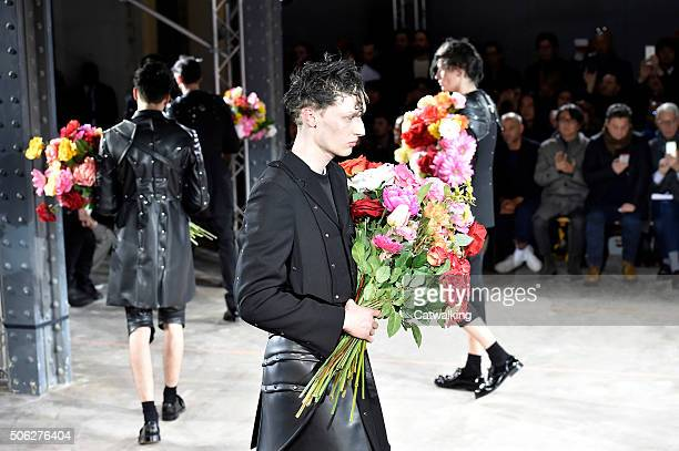 Models walk the runway at the Comme Des Garcons Homme Plus Autumn Winter 2016 fashion show during Paris Menswear Fashion Week on January 22 2016 in...