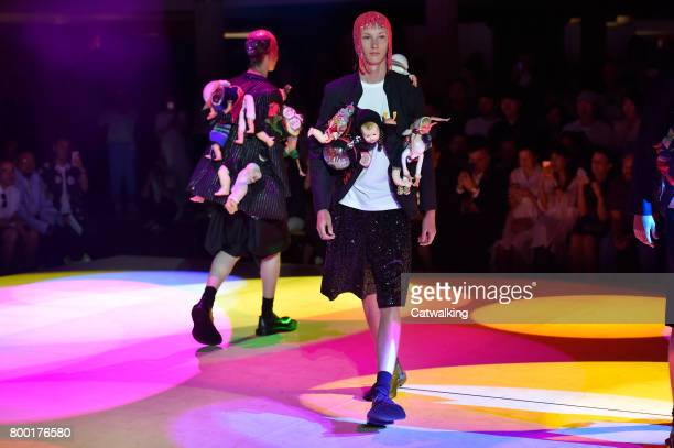 Models walk the runway at the Comme des Garcons Homme Plus Spring Summer 2018 fashion show during Paris Menswear Fashion Week on June 23 2017 in...
