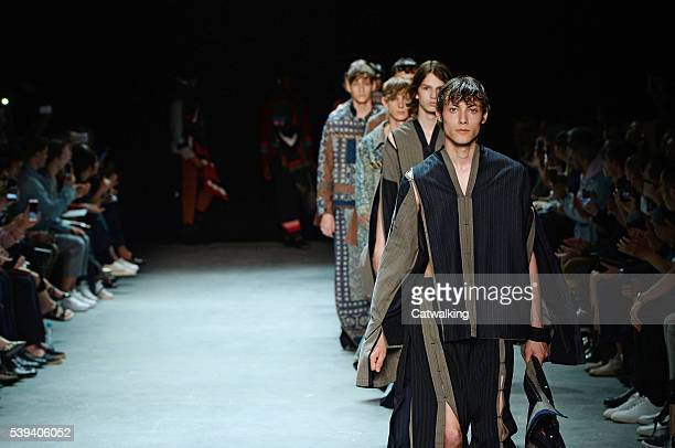 Models walk the runway at the Craig Green Spring Summer 2017 fashion show during London Menswear Fashion Week on June 10, 2016 in London, United...