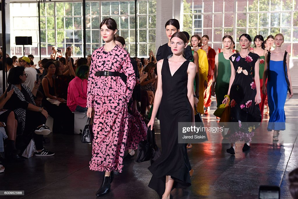 Models walk the runway at the Creatures of Comfort - Front Row - September 2016 - New York Fashion Week at Industria Studios on September 8, 2016 in New York City.