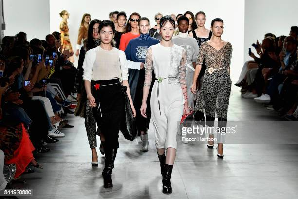 Models walk the runway at the Creatures of the Wind fashion show during New York Fashion Week The Shows at Gallery 2 Skylight Clarkson Sq on...