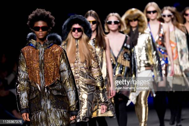 Models walk the runway at the Custo fashion show during the Mercedes Benz Fashion Week Autumn/Winter 20192020 at Ifema on January 27 2019 in Madrid...