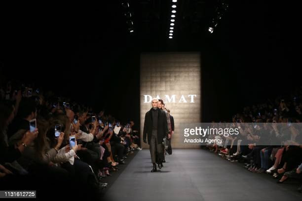 Models walk the runway at the Damat show during MercedesBenz Fashion Week at the Zorlu Performance Hall in Istanbul Turkey on March 19 2019
