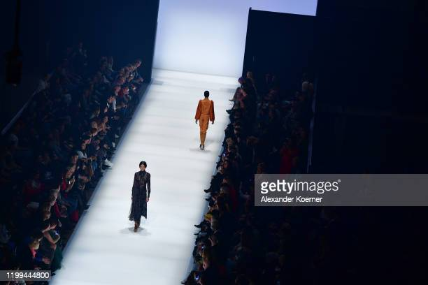 Models walk the runway at the Danny Reinke show during Berlin Fashion Week Autumn/Winter 2020 at Kraftwerk Mitte on January 14, 2020 in Berlin,...