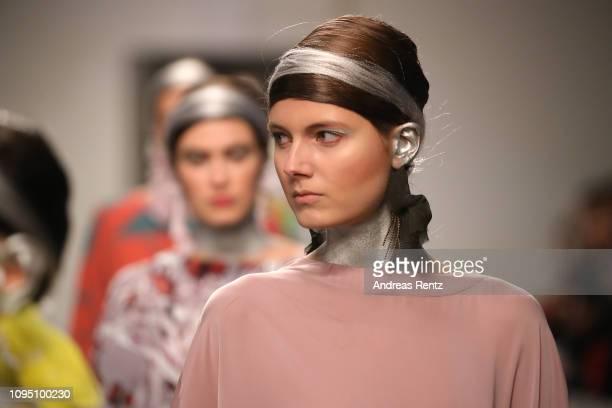 Models walk the runway at the Dawid Tomaszewski Defile during the Berlin Fashion Week Autumn/Winter 2019 on January 16 2019 in Berlin Germany