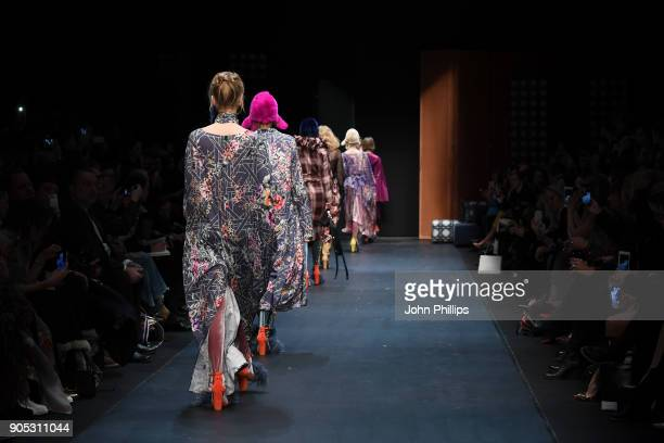 Models walk the runway at the Dawid Tomaszewski show during the MBFW Berlin January 2018 at ewerk on January 15 2018 in Berlin Germany