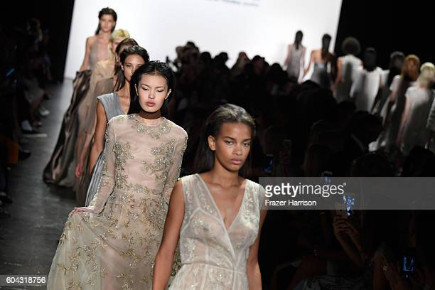 Models walk the runway at the Dennis Basso during New York Fashion Week The Shows at The Arc Skylight at Moynihan Station on September 13 2016 in New...