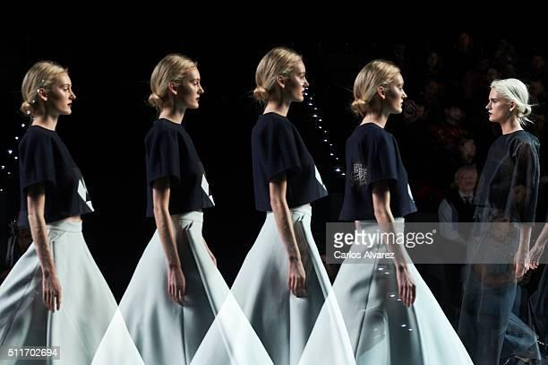 Models walk the runway at the Devota Lomba show during the MercedesBenz Madrid Fashion Week Autumn/Winter 2016/2017 at Ifema on February 22 2016 in...