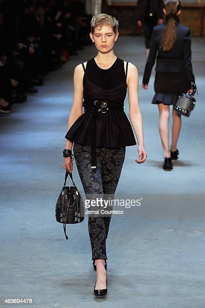 Models walk the runway at the Diesel Black Gold fashion show during MercedesBenz Fashion Week Fall 2015 on February 17 2015 in New York City