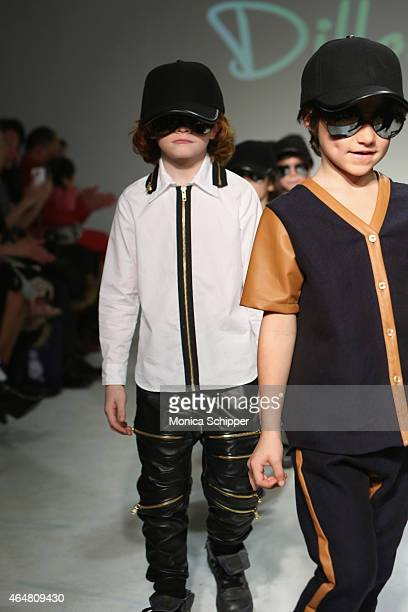 Models walk the runway at the Dillonger show during petitePARADE / Kids Fashion Week at Bathhouse Studios on February 28 2015 in New York City