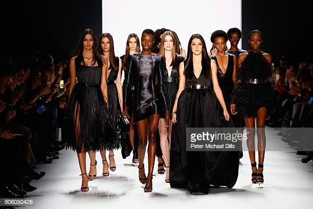 Models walk the runway at the Dimitri show during the MercedesBenz Fashion Week Berlin Autumn/Winter 2016 at Brandenburg Gate on January 21 2016 in...