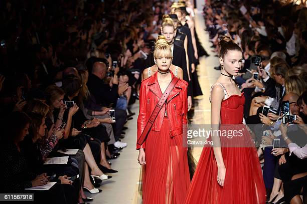 Models walk the runway at the Dior Spring Summer 2017 fashion show during Paris Fashion Week on September 30 2016 in Paris France