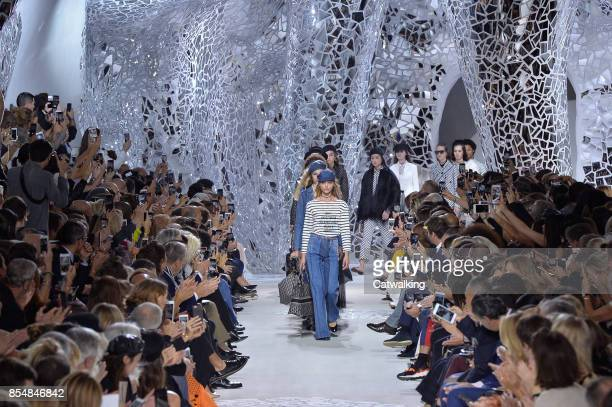 Models walk the runway at the Dior Spring Summer 2018 fashion show during Paris Fashion Week on September 26 2017 in Paris France