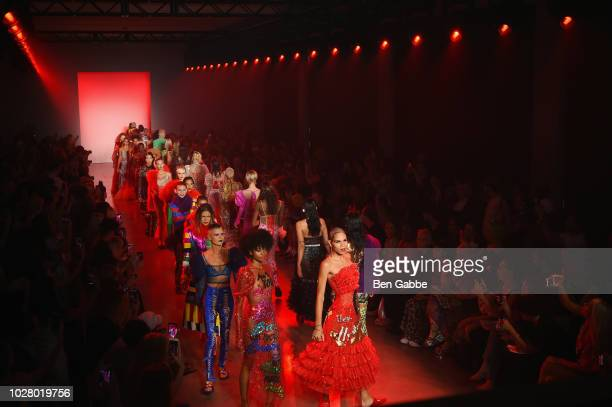 Models walk the runway at the Discount Universe show in Gallery II at New York Fashion Week The Shows Day 1 on September 6 2018 in New York City
