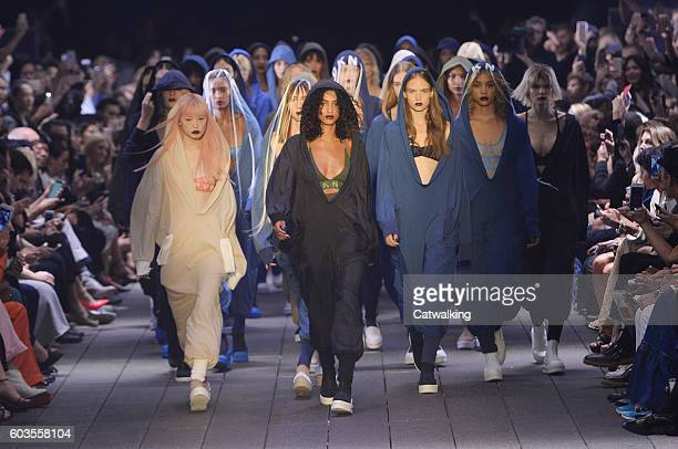 Models walk the runway at the DKNY Spring Summer 2017 fashion show during New York Fashion Week on September 12 2016 in New York United States