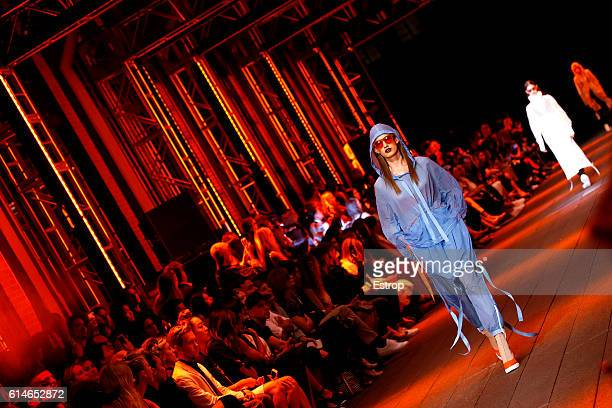 Models walk the runway at the DKNY Women's show at High Line on September 12 2016 in New York City