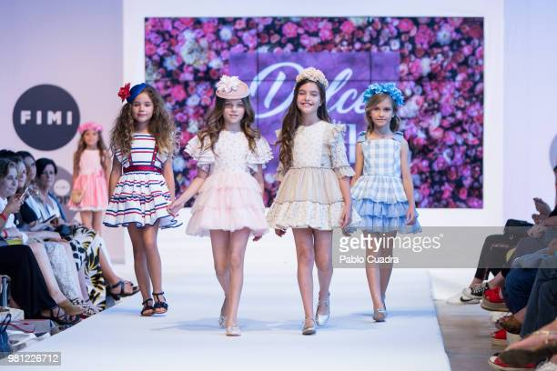 Models walk the runway at the Dolce Adela fashion show during the FIMI Kids Fashion Week on June 22 2018 in Madrid Spain