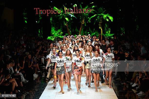 Models walk the runway at the Dolce And Gabbana show during Milan Fashion Week Spring/Summer 2017 on September 25 2016 in Milan Italy