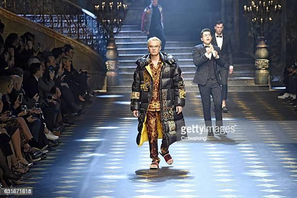 Models walk the runway at the Dolce Gabbana Autumn Winter 2017 fashion show during Milan Menswear Fashion Week on January 14 2017 in Milan Italy