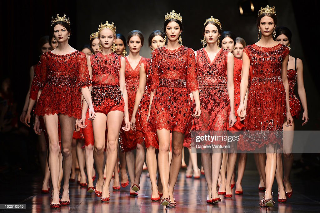 Models walk the runway at the Dolce & Gabbana fashion show during Milan Fashion Week Womenswear Fall/Winter 2013/14 on February 24, 2013 in Milan, Italy.