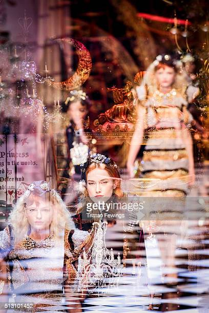 Models walk the runway at the Dolce & Gabbana fashion show during Milan Fashion Week Fall/Winter 2016/17 on February 28, 2016 in Milan, Italy.