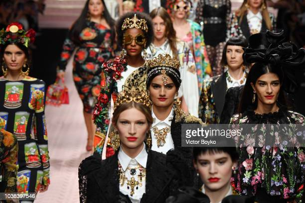 Models walk the runway at the Dolce Gabbana show during Milan Fashion Week Spring/Summer 2019 on September 23 2018 in Milan Italy