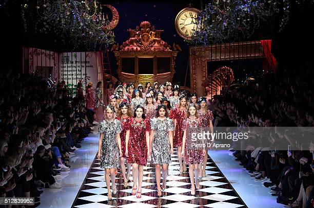 Models walk the runway at the Dolce Gabbana show during Milan Fashion Week Fall/Winter 2016/17 on February 28 2016 in Milan Italy