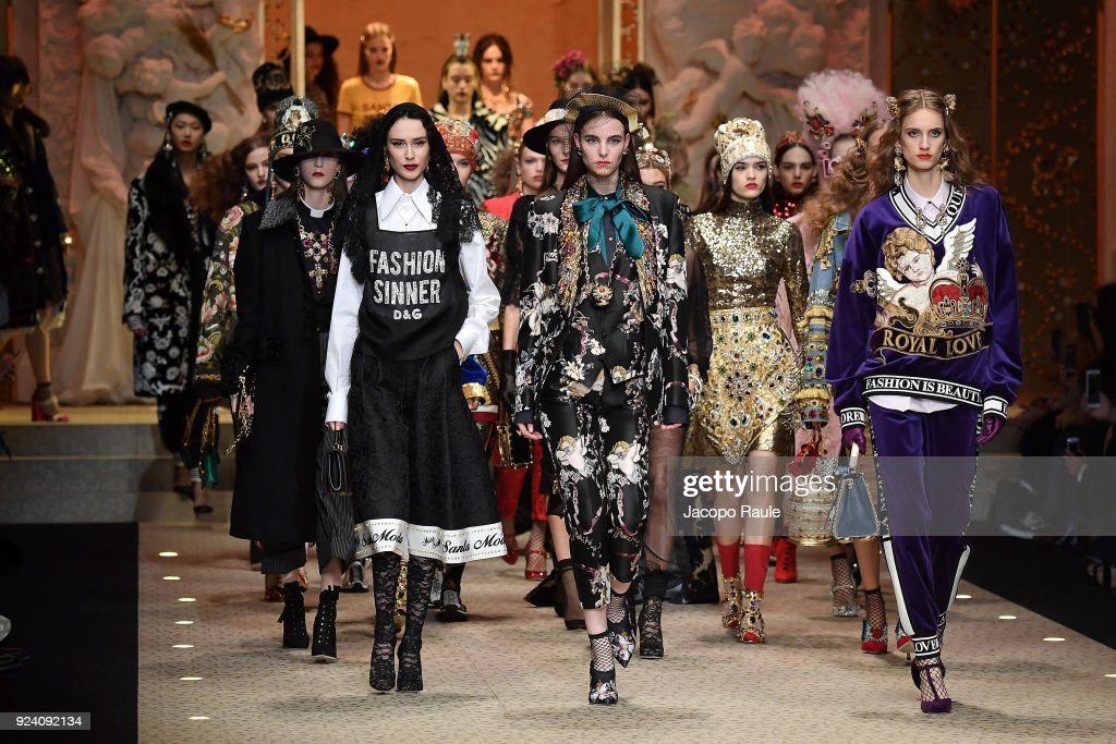 Models walk the runway at the Dolce & Gabbana show during Milan Fashion Week Fall/Winter 2018/19 on February 25, 2018 in Milan, Italy.