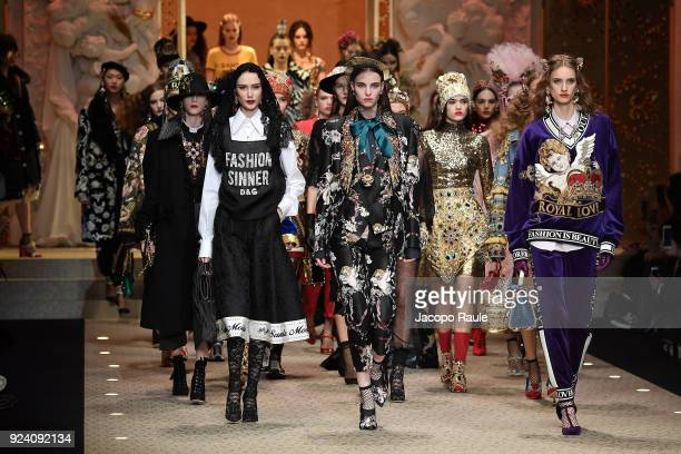 Models walk the runway at the Dolce Gabbana show during Milan Fashion Week Fall/Winter 2018/19 on February 25 2018 in Milan Italy