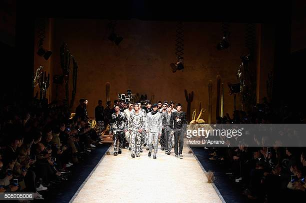 Models walk the runway at the Dolce Gabbana show during Milan Men's Fashion Week Fall/Winter 2016/17 on January 16 2016 in Milan Italy